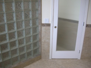 Glass Block, Tile Wainscoating, Tile Floor in Master Bath - Bend, Oregon