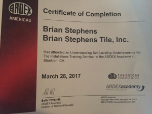 Tile Bend Oregon- ardex certification